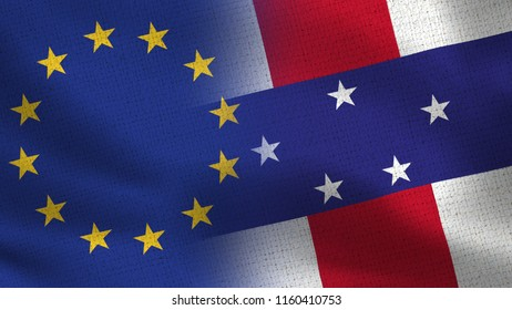 EU and Netherlands Antilles Realistic Half Flags Together - European Union