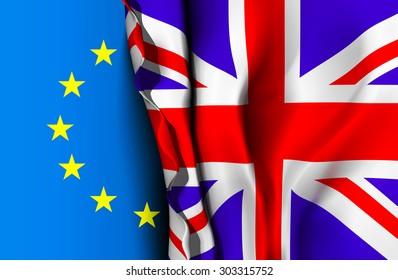 EU and UK flag. Brexit concept
