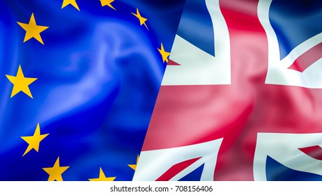 EU and UK flags. Brexit 3D Waving flag design. EU UK flag,  pictures, wallpaper, image. EU UK rights concept. The national flag of the United Kingdom and European Union. trade and immigration concept