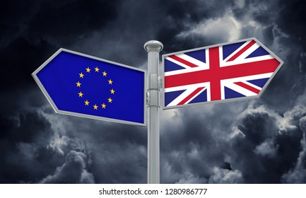 EU and United Kingdom guidepost. Brexit. Moving in different directions. 3D Rendering