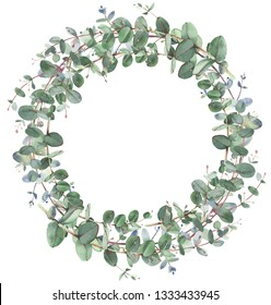 Eucalyptus wreath in circle frame composition. Round shape wreath.