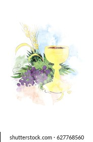 Eucharist - first Communion abstract artistic digital illustration with chalice and host, bread and wine, grapes and wheat ears. Made without reference image.