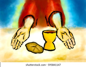 Eucharist or Last supper of Jesus Christ, with bread and wine. Maundy or Holy Thursday abstract artistic illustration in watercolor style.
