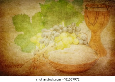 Eucharist symbols, bread and wine, chalice and host, with wheat ears and grapes. Artistic abstract soft watercolor effect background with copy space for text.