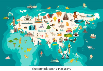Eurasia continent, world map with landmarks cartoon illustration. Abstract Eurasian animals, Europe and Asia sign and icon cartoon style.  Poster, art, travel card