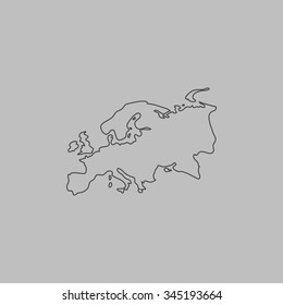 Eurasia map. Flat outline icon on grey background