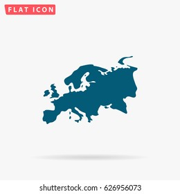 Eurasia map. Flat simple Blue pictogram on white background. Illustration symbol with shadow