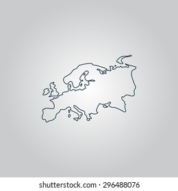 Eurasia map. Flat web icon, sign or button isolated on grey background. Collection modern trend concept design style  illustration symbol