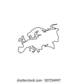 Eurasia map. Outline black simple symbol