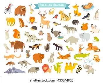 Eurasian animals vector illustration. Eurasian mammals cartoon style big set of mammals in Eurasia. Also, birds, reptiles. Isolated on white background. Eurasian animals art