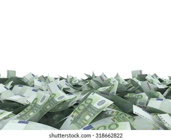 Euro 100 notes white background on white