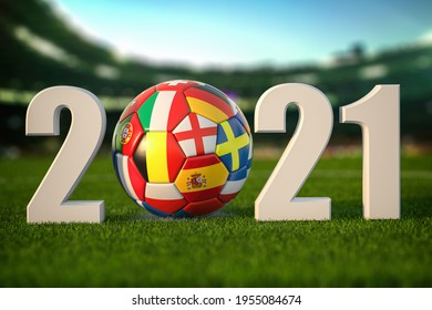 Euro 2021. Soccer Football ball with flags of european countries on the grass of football stadium. 3d illustration