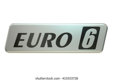 Euro 6 concept, 3D rendering isolated on white background