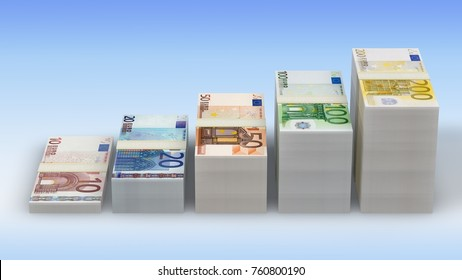Euro banknotes rising. Banknote stairs. Money stacks graph.