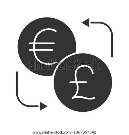 Euro British Pound Currency Exchange Glyph Stock Illustration
