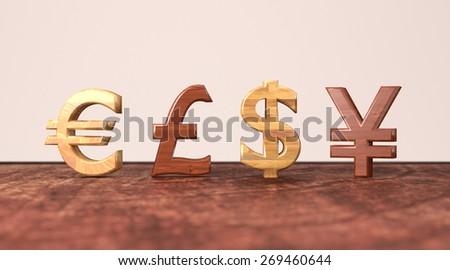 Euro British Pound Dollar Yen Symbols Stock Illustration 269460644
