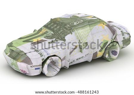 Euro Car Money Origami Car Made Stock Illustration 488161243