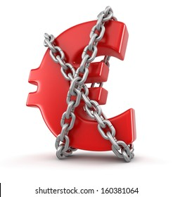 euro and chain (clipping path included)