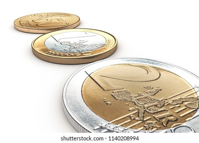 euro coin siolated on white backgroun 3d illustration