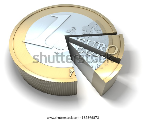 Euro coin sliced like a cake, cut into pieces, 3d rendering isolated on white background