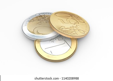 euro coins isolated on white background 3d illustration