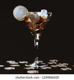 Euro Coins VIP Cocktail 3d render