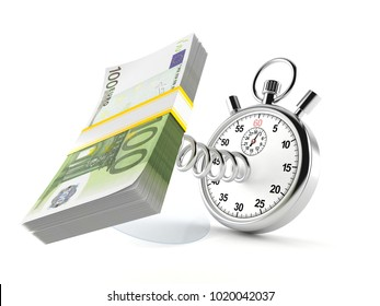 Euro currency with stopwatch isolated on white background. 3d illustration