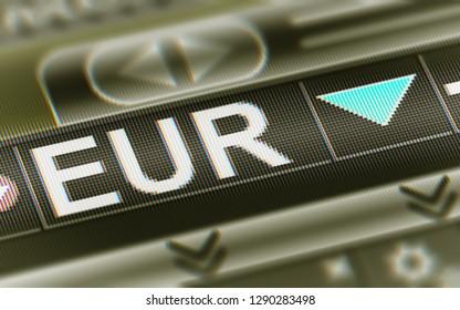 Euro. Down. 3D Illustration.
