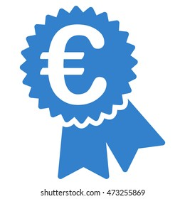 Euro Featured Price Tag icon. Glyph style is flat iconic symbol, cobalt color, white background.