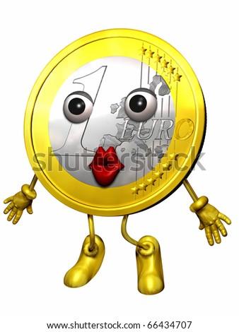Euro Figure Euro Character Giving Kiss Stock Illustration 66434707
