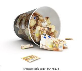 euro maney basket  on a white background
