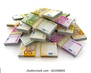 Euro money lots forming a pile isolated on white background. 3D illustration.