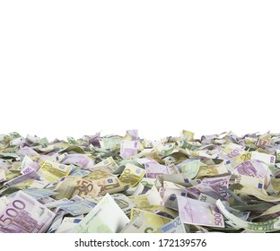 Euro notes at the ground, white background