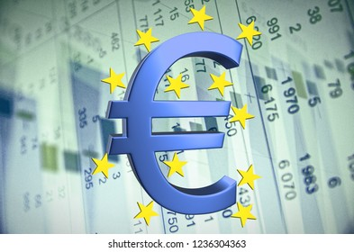 Euro sign with stars, financial data visible on the background. 3D rendering.