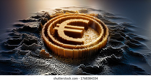 Euro Symbol in a digital raster micro structure - 3D illustration