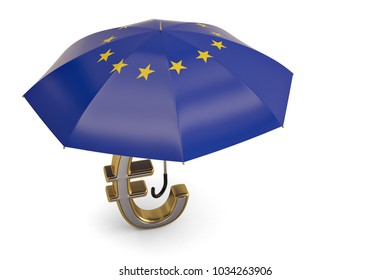 Euro symbol on umbrella. 3D illustration.