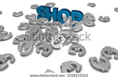 Euro Symbols Word Shop On White Stock Illustration 1028252563