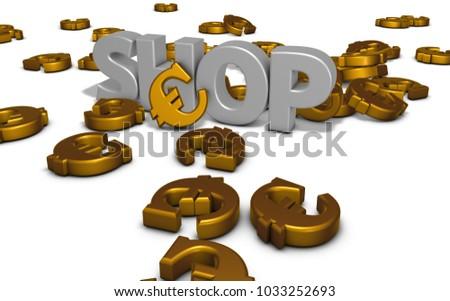Euro Symbols Word Shop On White Stock Illustration Royalty Free