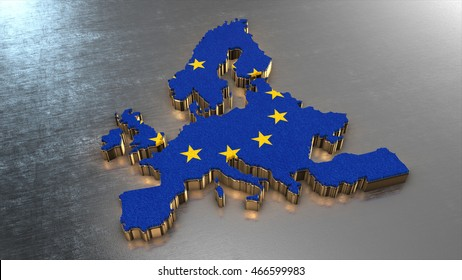 Europa Country map 3d render, illustration isolated with flag and golden metal texture
