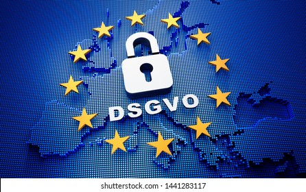 Europa DSGVO - 3D illustration with blue backdrop