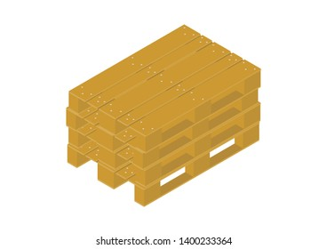 Europallet. Isometric view of pallet on a white background. Raster illustration.
