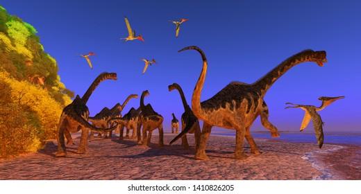 Europasaurus Dinosaur Beach 3D illustration - A Pterodactylus reptile flies too close to a Europasaurus dinosaur herd walking down a beach during the Jurassic Period.