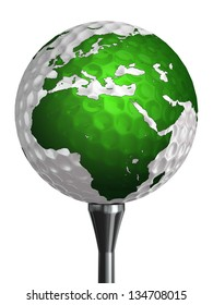 europe and africa continent on golf ball isolated on white background. clipping path included