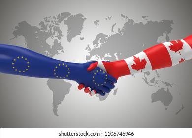 Europe and Canda Handshake Bilateral talks 3D render