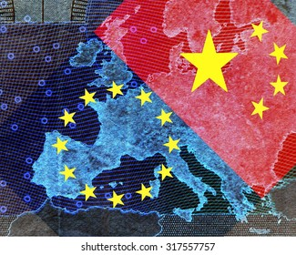 europe and china â the map of is shining through transverse flags