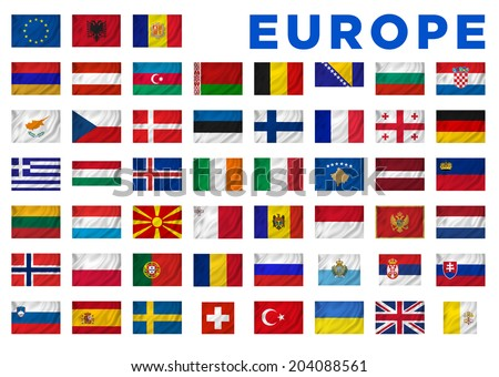 europe flags all european countries clipping stock illustration