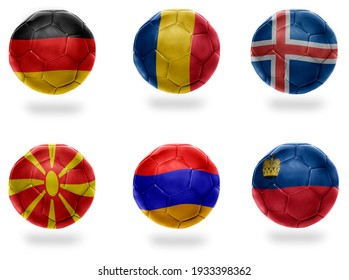 europe group J . realistic football balls with national flags of germany, romania, iceland, macedonia, armenia, liechtenstein , soccer teams. 3D illustration
