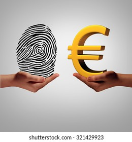 Europe information market and personal data brokering business concept to buy and sell european information as a hand holding a finger print and another person with a euro security symbol metaphor.