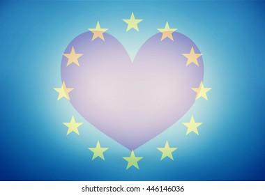 Europe Love Big Heart Background Flag Design