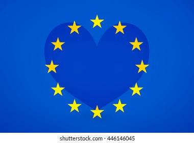 Europe Love Big Heart Background Flag